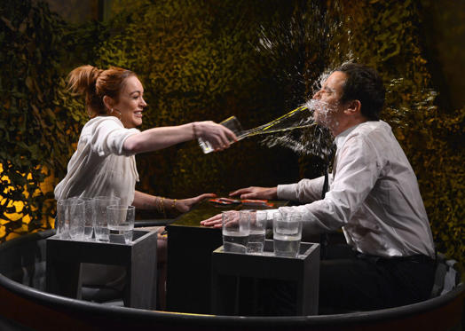 Lindsay Lohan and Jimmy Fallon play a game of 'Water War' during a taping of 'The Tonight Show Starring Jimmy Fallon' at Rockefeller Center on March 6, in New York City.