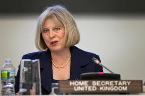 File: United Kingdom Home Secretary Theresa May speaks during the Secretary-General's Symposium on International Counter-Terrorism Conference during the General Assembly at United Nations headquarters