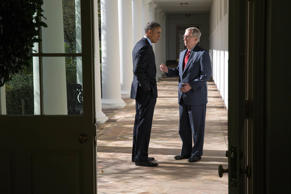 President Barack Obama talks with Senate Minority Leader Mitch McConnell on the Colonnade of the White House, Nov. 7, 2014.