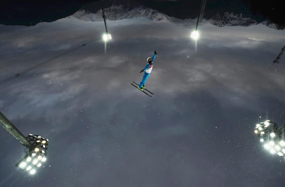 Belarus' Anton Kushnir competes during the men's freestyle skiing aerials qualification round at the 2014 Sochi Winter Olympic Games in Rosa Khutor on February 17.