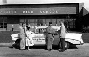 Students taking driver education, late 1950s or early 1960s.