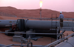 Flare stack on the Shaybah oil site in the middle of the Rub Al Khali desert in Shaybah, Saudi Arabia.