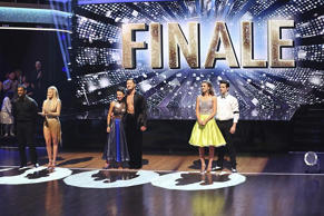 "(From left) Alfonso Ribeiro and Witney Carson, Janel Parrish and Val Chmerkovskiy and Sadie Robertson and Mark Ballas on the Season 19 ""Dancing With The Stars"" Finale."