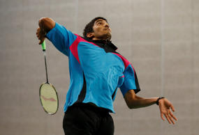 India's Srikanth Nammalwar Kidambi returns a shot to South Korea's Son Wanho during the men's singles round of 16 badminton match at the 17th Asian Games in Incheon, South Korea, Friday, Sept. 26, 2014.