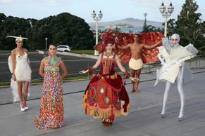 Models pose at the Auckland War Memorial Museum's World of Wearable Art (WOW) exhibition opening at Auckland Museum on November 20, 2014 in Auckland.