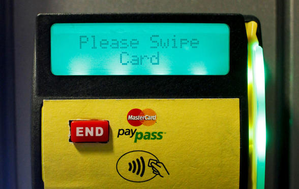 Slide 1 of 11: A MasterCard PayPass reader.