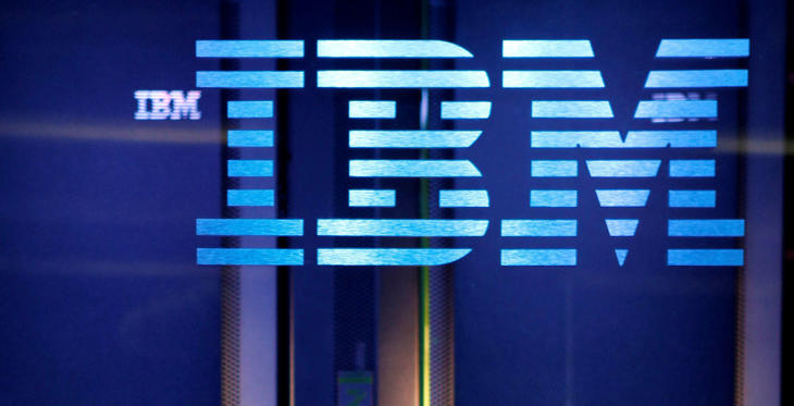 The white lines passing through the IBM logo give the appearance of the equal sign in the right bottom corner, representing equality.