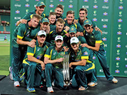 Australia's cricket team poses for a photo after winning their one-day international cricket series against South Africa in Sydney, Australia, Sunday, Nov. 23, 2014. Australia won the series 4-1.