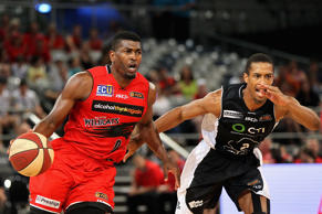 Jermaine Beal of the Wildcats drives to the basket during the round seven NBL match between Melbourne United and the Perth Wildcats at Hisense Arena on November 23, 2014 in Melbourne.