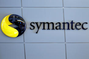 The Symantec Corp. logo is displayed outside the company's headquarters in Mountain View, Calif