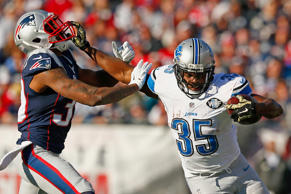 Joique Bell of the Detroit Lions carries the ball during a game against the New England Patriots on Nov. 23 in Foxboro, Mass.