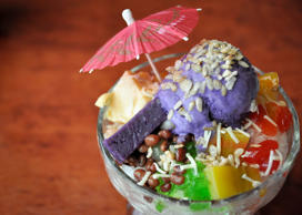 A multi colored sundae, halo-halo is the best way to quench your thirst and cool...