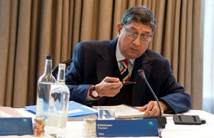 India's N Srinivasan (R) and Keith Oliver of Scotland during the ICC Board Meeting at The Royal Garden Hotel on October 18, 2013 in London, England.