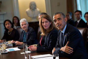 From left, NSA Susan Rice, EPA Administrator Gina McCarthy, Education Secretary Arne Duncan, Secretary of Heath and Human Services Sylvia Matthews Burwell and  President Barack Obama.