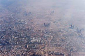 File: Smog envelops buildings on the outskirts of the Indian capital New Delhi on November 25, 2014.
