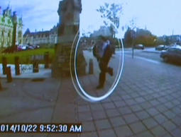 A man identified by Royal Canadian Mounted Police as Michael Zehaf-Bibeau is seen October 22, 2014 as he exits a car and runs toward the Parliament buildings in a still image taken from surveillance video released by the RCMP October 23, 2014.