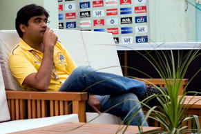 Gurunath Meiyappan, owner of Chennai Super Kings during the 2010 DLF Indian Premier League T20 group stage match between Kings XI Punjab and Chennai Super Kings played at Himachal Pradesh Cricket Association Stadiumon April 18, 2010 in Dharamsala, India.