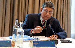 India's N Srinivasan during the ICC Board Meeting at The Royal Garden Hotel on October 18, 2013 in London, England.