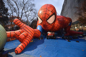 A view of the Spiderman balloon during the 88th Annual Macy's Thanksgiving Day Parade Rehearsals.