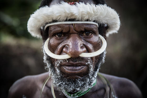 A Papuanese tribal man poses for a portrait during the 25th Baliem Valley festival on August 7, in Wamena, Indonesia. The Baliem Valley Cultural Festival has been organized annually in the Baliem Valley, home to three Papua interior tribes: the Dani, Lani and Yali tribes and each yrear the tribes gather together to stage mock battles, perform traditional music and dance, and celebrate with a pig feast.