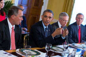 President Barack Obama meets with Congressional leaders in the Old Family Dining Room of the White House in Washington, Friday, Nov. 7, 2014. From left are, House Speaker John Boehner of Ohio, Obama, Senate Majority Leader Harry Reid of Nev., and Senate Minority Leader Mitch McConnell of Ky.