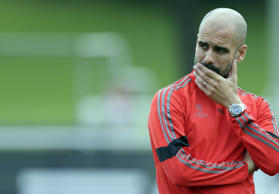 Bayern Münchens Chefcoach Pep Guardiola am 20. Oktober 2014 im Training vor der Champions-League-Partie gegen den AS Rom.