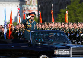 Russian Defense Minister Sergei Shoigu during the Victory Day parade in Moscow's Red Square May 9, 2014.
