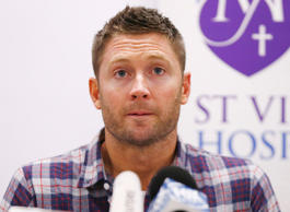Australian cricket captain Michael Clarke delivers a statement, on behalf of the family of deceased teammate Phillip Hughes, at St Vincent's Hospital in Sydney, November 27, 2014.