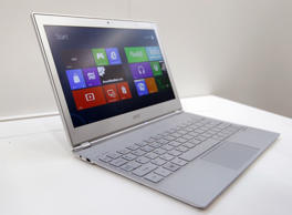 File: An Acer 11-inch ultrabook Aspire S7 with Microsoft Windows 8 operation system is displayed during a news conference as part of the preview of the 2012 Computex exhibition at the Taipei International Convention Center in Taipei June 4, 2012.