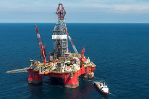 "Aerial view of the Centenario exploration oil rig, operated by Mexican company ""Grupo R"" and working for Mexico's state-owned oil company  PEMEX, in the Gulf of Mexico on August 30, 2013. Mexico's Senate approved on December 11, 2013 a controversial energetic reform which breaks the country's oil monopoly by allowing foreign firms to drill for crude for the first time in 75 years. The reform is still to be voted in the Deputies Chamber."