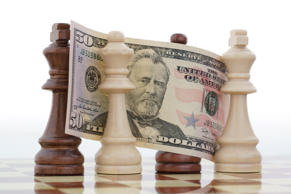 Money on chess board concept business background
