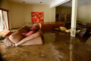 BOULDER, CO - SEPTEMBER 12: The basement at the Roy's families home on Premier Place in north Boulder is flooded with about three-feet of water, September 12, 2013. Massive flash flooding is on going along the Front Range of Colorado.