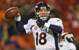 Quarterback Peyton Manning of the Denver Broncos throws a pass against the Kansas City Chiefs during the second half on Nov. 30 at Arrowhead Stadium in Kansas City, Mo.