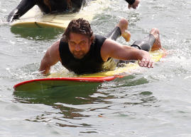 "The actor nearly drowned while filming a surfing scene in Of Mice and Mavericks. According to surfer Zach Wormhoudt, Gerard was held underwater for two waves and washed through some rocks while tethered to his 10-foot surfboard. Luckily, the actor remained calm until a patrolman came to his rescue. The actor who later recalled the event said, ""This was one of the few times when reports weren't exaggerated, it was a pretty close call…"""
