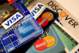 American Express, Discover, MasterCard and Visa credit cards are displayed for a photograph in New York.
