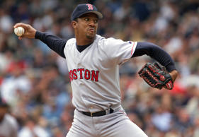 Boston Red Sox pitcher Pedro Martinez is on the mound against the New York Yankees at Yankee Stadium on June 14, 2000.  Keith Torrie/NY Daily News Archive via Getty Images