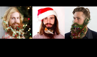 Men wearing Christmas decorations in their beards