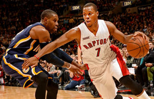 Kyle Lowry of the Toronto Raptors drives to the basket against the Indiana Pacers during a game on Dec. 12, 2014 at the Air Canada Centre in Toronto.