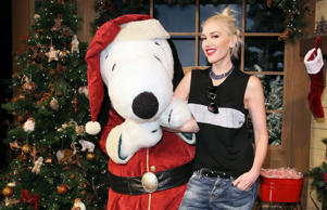 Gwen Stefani with Snoopy at Knott's Merry Farm in Buena Park, California.
