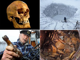 Clockwise from top left. Skull from excavation in Leicester; Crater on the Yamal Peninsula;The Saddle Ridge Hoard; Message in a bottle from 1913. University of Leicester/AP; Vladimir Pushkarev/Russian Centre of Arctic Exploration/Reuters; ;Saddle Ridge Hoard discoverers via Kagin's, Inc./AP; Uwe Paesler/AFP/Getty Images
