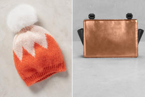 From left, Chevron Pom Beanie and a leather cross-body bag.