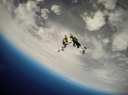 Soul Flyers Fred Fugen and Vincent Reffet perform during training in Austria for The Ultimate Skydiving Combo, skydiving from 33, 000 feet (10 km) above the Mont Blanc, in Austria on May 13th, 2014
