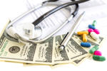 Dollars, stethoscope, pills and medical form. Costs for the medical insurance.