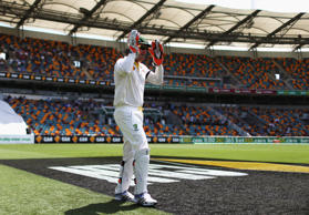 Brad Haddin of Australia takes to the field during day two of the 2nd Test match between Australia and India at The Gabba on December 18, 2014 in Brisbane, Australia.