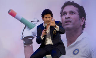 Indian Cricket legend Sachin Tendulkar speaks during the release of his autobiography 'Playing It My Way' on November 5, 2014 in Mumbai, India. The book is co-authored by Boria Majumdar.