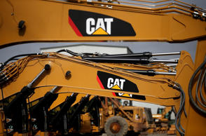 The CAT logo is displayed on Caterpillar construction equipment at Peterson Tractor on October 23, 2014 in San Leandro, California.