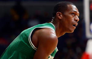 Rajon Rondo #9 of the Boston Celtics rests during a break in the game against the Washington Wizards at the Verizon Center on Dec. 8, 2014 in Washington.
