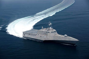 The US Navy's the littoral combat ship Independence (LCS 2) which was produced b...