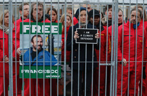 French actress Marion Cotillard and Greenpeace activists was protested inside a mock prison cell in support of fellows activists who were detained on the boat Arctic Sunrise, during a protest action at Palais Royal place in Paris November, 2013.