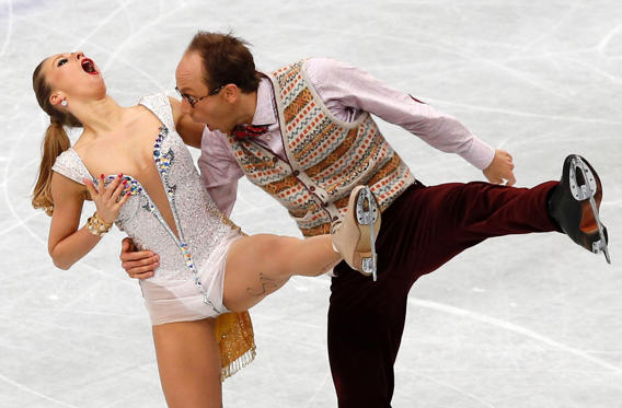 Germany's Nelli Zhiganshina and Alexander Gazsi compete during the ice dance short dance program at the ISU World Figure Skating Championships in Saitama, north of Tokyo on March 28